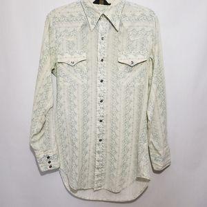 Sears Western Wear Vintage Floral Shirt Size Medium 15 - 15.5 Neck